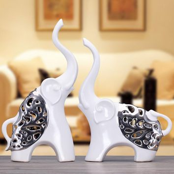 white silver ceramic African elephant home decor crafts room decoration ceramic kawaii ornament porcelain animal figurines