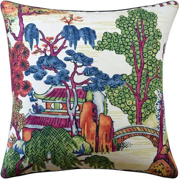 Asian Scenic Coral and Green Pillow