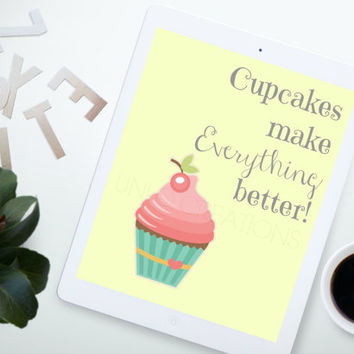 Cupcake Typography Poster, Graphic Design Art, Digital Wall Art 8x10 Print, INSTANT DOWNLOAD