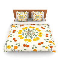 "Laura Nicholson ""Ranunculas"" Floral Yellow Fleece Duvet Cover"