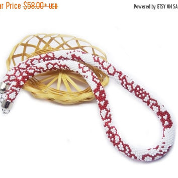 SALE Red white necklace, flower  necklace, bead crochet rope necklace.  ethnic jewelry, folk necklace