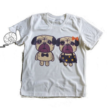 Funny pug dog lover shirt kids toddlers boys girls clothing **short sleeve shirt **crewneck **off white t shirts