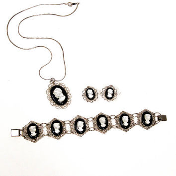 Cameo Necklace, Bracelet, Earring Set, Mother of Pearl, Black, Silver Tone, Victorian Influence, Parure