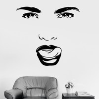 Vinyl Wall Decal Beauty Salon Woman Face Eyes Tongue Girl Room Stickers Unique Gift (ig3422)