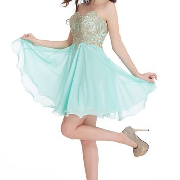 B| Chicloth A-Line Strapless Short Chiffon Prom Dresses With Beadings