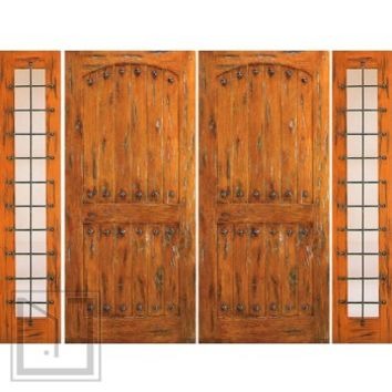 Prehung Double Door with Two Side lights, Exterior, Knotty Alder