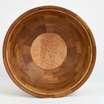 "Large Wood Bowl 15"" x 5"" Cherry and Birdseye Maple"