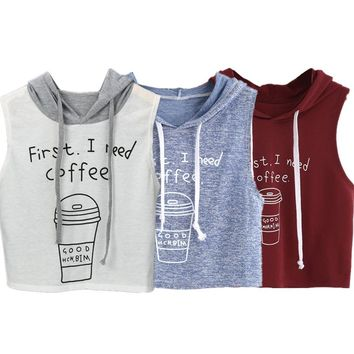 Fashion Print Hooded Crop Top Female Workout Casual Tank Women's Tops Base Shirt Slim Cropped Women's Blouse Wholesale noFB4