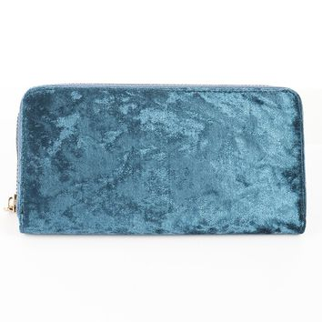 Blue Velvet Finish Clutch Wallet Bag Accessory