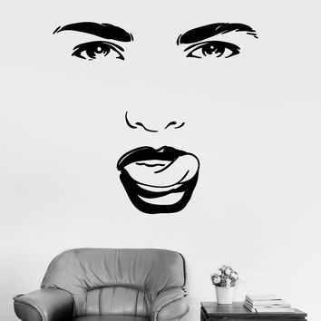 Vinyl Wall Decal Beauty Salon Woman Face Eyes Tongue Girl Room Stickers (ig3422)