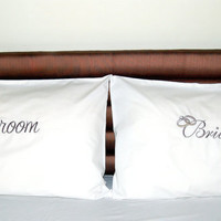 BRIDE/GROOM bedroom embroidered pillow cases, 2 pcs set, wedding unique pillows Best quality Percale cotton,