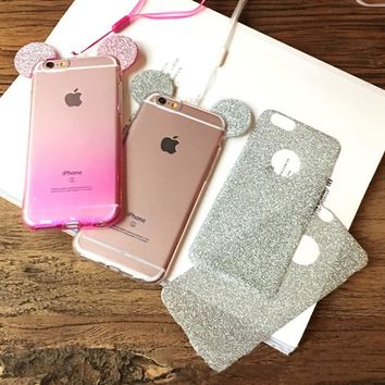 3D Mouse Ears Soft  Glitter  for iPhone 5 5S SE 6 6S 7