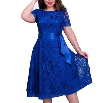 Women Vintage Clothing Lace Dresses Elegant High Quality Casual Party Beach Dress