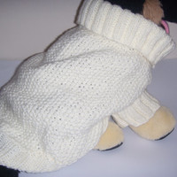 French bulldog size sweater, dog clothes, Bichon Frise, Jack Russell terrier, Westtie,  cosy collar  hand knit knit  in cream chunky yarn