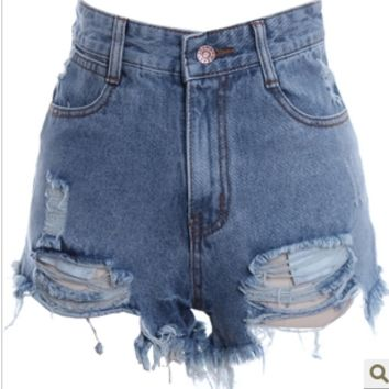 HOLE BURRS WASHED DO OLD HIGH-WAISTED DENIM SHORTS