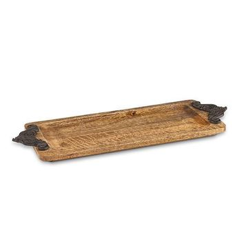 Wire Brushed Wood Tray w/metal