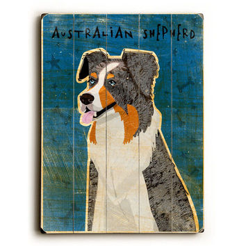 Australian Shepherd by Artist John W. Golden Wood Sign