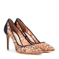 Angie suede-trimmed lace pumps
