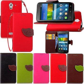 For Huawei Y336 Y6 Y600 Y635 Luxury Leather Cover Flip Wallet Phone Case With Leaves Buckle And Lanyard Mobile Phone Shell