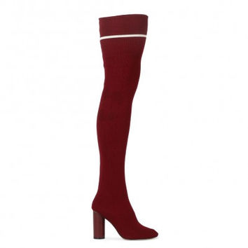 EMMY SOCK FIT STRIPE LONG BOOTS IN BORDEAUX KNIT