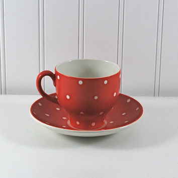 Rare Amanita Upsala Ekeby Vintage Cup Saucer Red White Polka Dots GEFLE Sweden Housewares Home Decor Serving Coffee