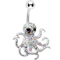 Aurora Encrusted Floating Octopus Belly Button Ring