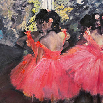 Wall Decor Dancers in Pink by Edgar Degas Mixed Medium 3D Painting on Canvas Ready to Hang