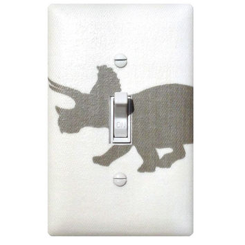 Dinosaur Light Switch Plate / Triceratops Gray Baby Boy Nursery / Boys Room / Storm Grey White Premier Prints / Gender Neutral