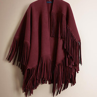Fringe Detail Felted Wool Cashmere Poncho