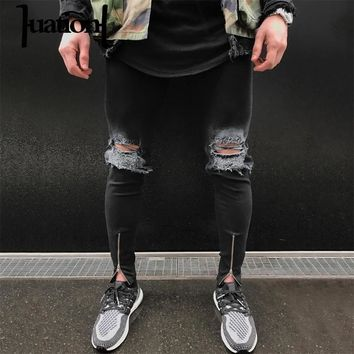 Huation Fashion Men Ripped Warm Skinny Jeans Classic Casual Denim Biker Mens levy Jeans Stretch Destroyed Jeans Mens Pants Jean