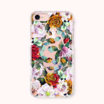 Floral iPhone 7 Case, iPhone 7 Plus Case, iPhone 6/6S Case, iPhone 6/6S Plus Case, iPhone 5/5S/SE Case, Galaxy S8/S8Plus Case-Antique Flower