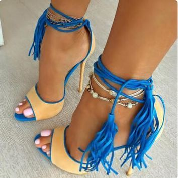 women gladiator sandals fringes high heels lace up open toe stilettos tassel sexy sand