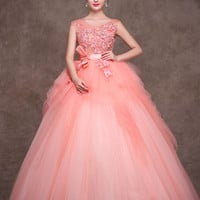 Blush Pink Quinceanera Tulle Ball Gown Home Coming Prom Dress X004