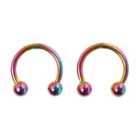 "Steel 3/8"" Diameter Anodized Rainbow Circular Barbell 2 Pack"