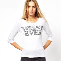 "White ""WHAT EVER"" Print Sleeve Shirt"