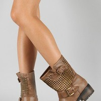 Bamboo Italo-01 Buckle Studded Mid Calf Boot