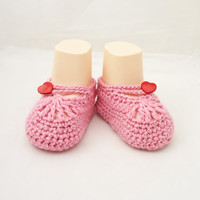 Crochet Babies Booties, Cute Baby Slippers, Pink Baby Socks, UK Seller