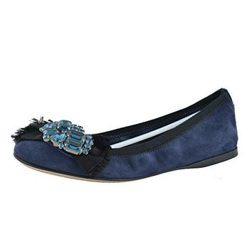 Miu Miu Women's Suede Dark Blue Crystal Decorated Ballet Flat Shoes
