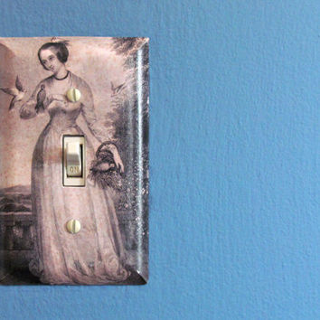 Lady with singing birds Light Switch Plate - Victorian Sepia Toned image Decoupaged single switch plate - Shabby Chic Decoration