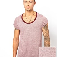 ASOS T-Shirt With Rolled Sleeve And Textured Yarn