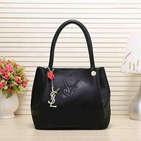 YSL Trending Women Leather Satchel Tote Handbag Shoulder Bag Black I-MYJSY-BB
