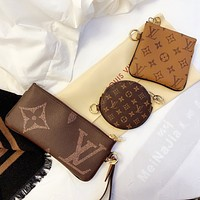 LV Louis Vuitton New fashion monogram leather print round square wallet purse handbag three piece suit