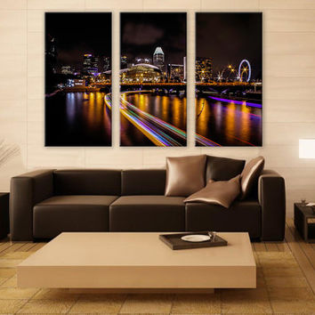 City Night Skyline Canvas Print 3 Panels Print Cityscape Art Wall Deco Fine Art Photography Repro Print for Home and Office Wall Decoration