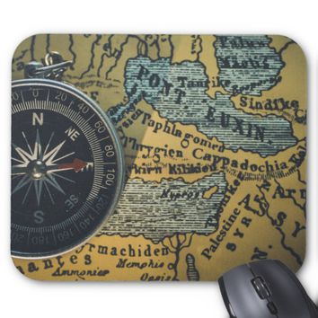 Compass & Map Mouse Pad