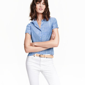 Short-sleeved Cotton Shirt - from H&M
