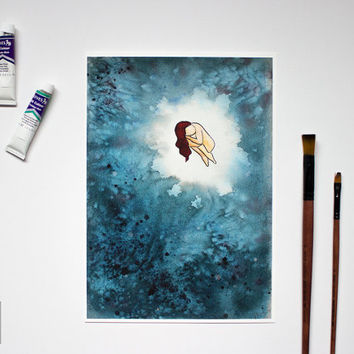 "Indigo Blue Watercolor Figurative Art, ""Black Pearl"", Water Effect, Ocean, Emotive Art Print, A4 Art Print"
