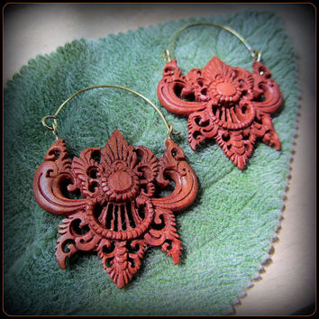 Carved Wood Earrings ~ layer through gauges eyelets tunnels ~ tribal festival fusion style ~ modern primitives, hippies, feral belly dancers