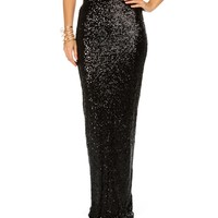 Sale-black Fitted Sequin Maxi Skirt