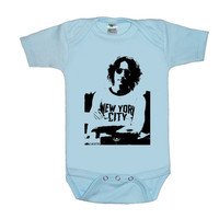 John Lennon New York Blue screenprint baby Onesuit by SmokinChix