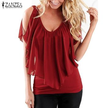 ZANZEA Women 2018 Summer Blusas Sexy Off Shoulder V Neck Splicing Chiffon Solid Blouses Shirts Fashion Plus Size Tee Tops